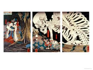 Mitsukini Defying the Skeleton Spectre, circa 1845 by Kuniyoshi Utagawa