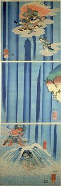 Mongaku Shonin under the Waterfall, C.1851 (Vertical Triptych) by Kuniyoshi Utagawa