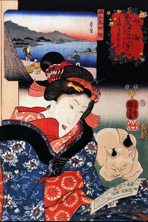 Quite Time with Cat by Kuniyoshi Utagawa