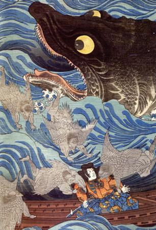 Samurai on the Small Boat by Kuniyoshi Utagawa