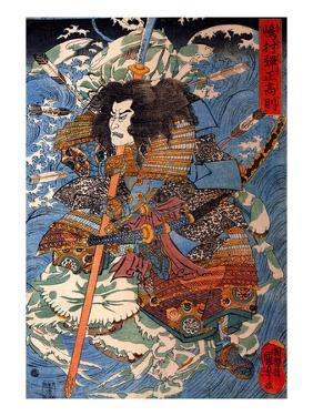 Shimamura Danjo Takanori Riding the Waves on the Backs of Large Crabs by Kuniyoshi Utagawa