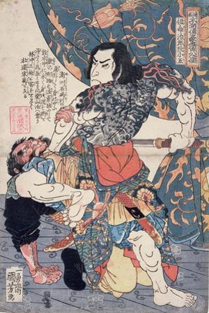 Tameijiro Genshogo Slaying Orin, from the Series '108 Chinese Heroes of the 'Suikoden' ('Tsuzoku… by Kuniyoshi Utagawa