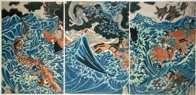 Tametomo's Shipwreck, Pub. C.1836, (Colour Woodblock Print) by Kuniyoshi Utagawa