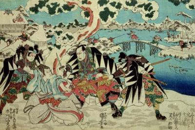 The 'Chushingura' (The Story of the Forty Seven Ronin - Masterless Samurai); a Scene from Act II… by Kuniyoshi Utagawa