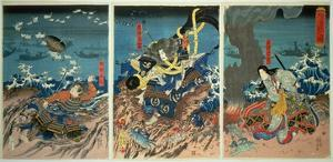 The Death of Tomomori at the Battle of Dan-No-Ura, 1185, Pub. C.1844, (Colour Woodblock Print) by Kuniyoshi Utagawa