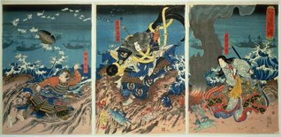 The Death of Tomomori at the Battle of Dan-No-Ura, 1185, Pub. C.1844, (Colour Woodblock Print) by Kuniyoshi Utagawa