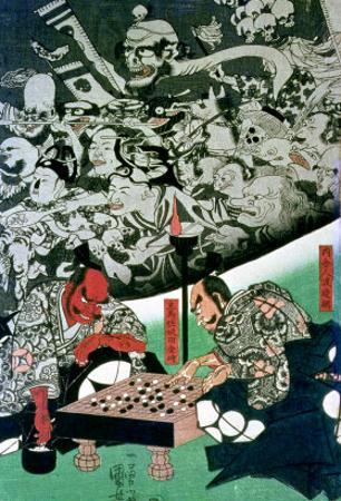 The Earth Spider Making Magic in the Palace of Raiko by Kuniyoshi Utagawa