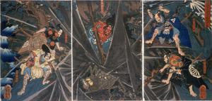 The Earth Spider Slain by the Hero Raiko's Retainers (944-1021) by Kuniyoshi Utagawa