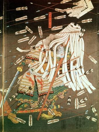 The Last Stand of the Kusanoki Clan, the Battle of Shijo Nawate, 1348, circa .1851 by Kuniyoshi Utagawa