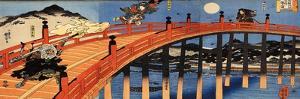 The Moonlight Fight Between Yoshitsune and Benkei on the Gojobashi by Kuniyoshi Utagawa