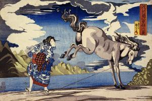 The Strong Woman, Okane, of Omi Province, Subduing a Wild Horse by Kuniyoshi Utagawa