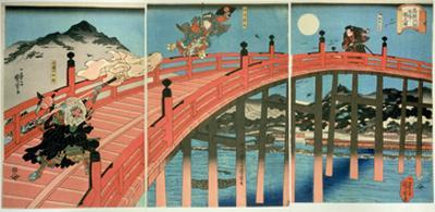 Ushiwaka and Benkei Fighting on Gojo Bridge, Published C.1839 (Colour Woodblock Print) by Kuniyoshi Utagawa
