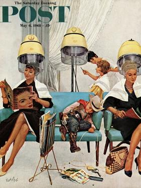 """Cowboy Asleep in Beauty Salon,"" Saturday Evening Post Cover, May 6, 1961 by Kurt Ard"