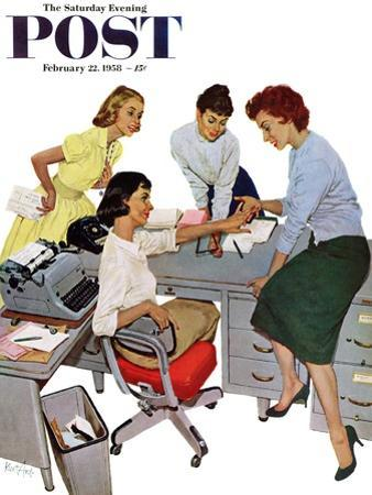 """""""Engagement Ring"""" Saturday Evening Post Cover, February 22, 1958"""