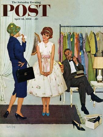 """""""First Prom Dress"""" Saturday Evening Post Cover, April 18, 1959"""