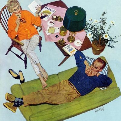 "Husbands Better Tell - Saturday Evening Post ""Men at the Top"", September 6, 1958 pg.17 by Kurt Ard"