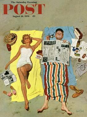 """""""Sunscreen?"""" Saturday Evening Post Cover, August 16, 1958 by Kurt Ard"""