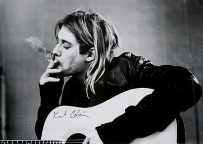 Kurt Cobain (Smoking) With Guitar Black & White Music Poster