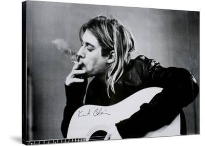 Kurt Cobain (Smoking) With Guitar Black & White Music Poster