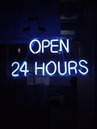 Open 24 Hours Neon Sign by Kurt Freundlinger