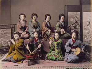 Group of Geisha Girls Playing Musical Instruments (Hand Coloured Albumen Print on Card) by Kusakabe Kimbei