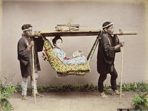 Japanese Geisha Being Carried in a Litter by Kusakabe Kimbei