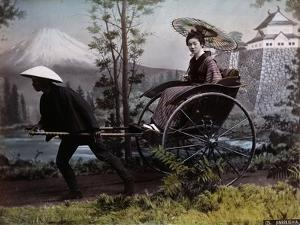 Young Japanese Woman in a Rickshaw, C.1890 (Coloured Photo) by Kusakabe Kimbei