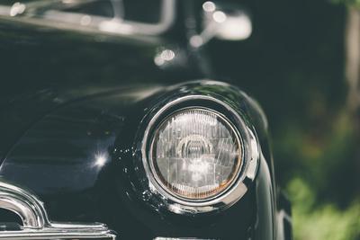 Closeup of a Soviet Classic Vintage Car .
