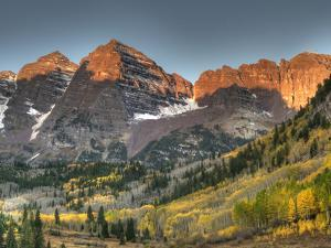 Sunrise at the Maroon-Bells in Colorado's Maroon Bells-Snowmass Wilderness Area by Kyle Hammons