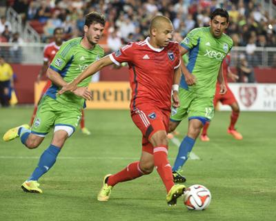 Aug 2, 2014 - MLS: Seattle Sounders vs San Jose Earthquakes - Brad Evans, Jason Hernandez