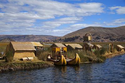 Peru, Uros Islands. The floating reed islands of Lake Titicaca.