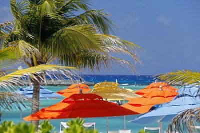 Umbrellas and Shade at Castaway Cay, Bahamas, Caribbean