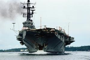 Aircraft Carrier Melbourne Arriving for Repairs by Kyoichi Sawada