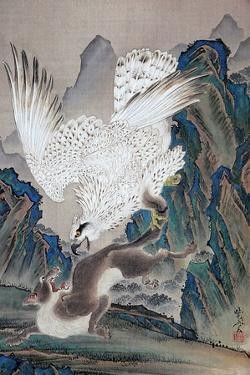 A Wolf Attacked by White Eagle by Kyosai Kawanabe