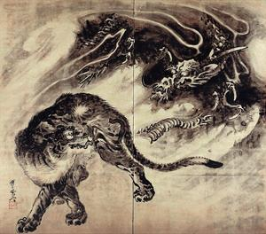 Dragon and Tiger by Kyosai Kawanabe