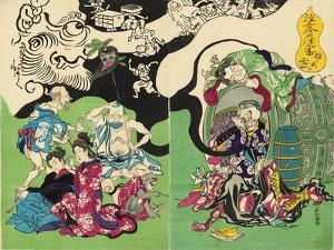 Figures from Otsu-E Paintings of the Floating World in a Drunken Stupor by Kyosai Kawanabe