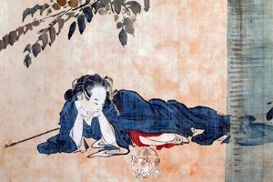 Reclining Beauty and Cat by Kyosai Kawanabe