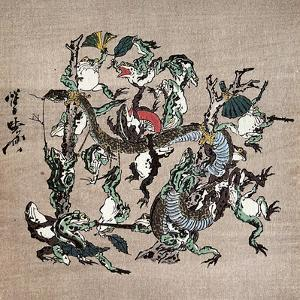 Snake Extermination of by Frog by Kyosai Kawanabe