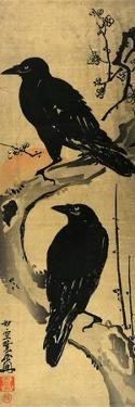 Two Crows on a Plum Branch with Rising Sun by Kyosai Kawanabe