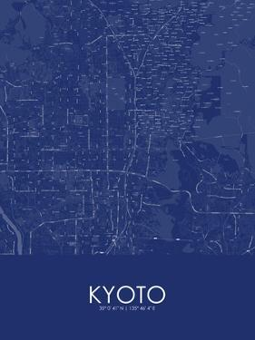 Kyoto, Japan Blue Map