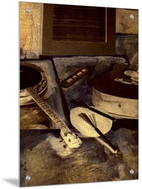 Abstract Still Life of Banjo and Guitar by L.B.