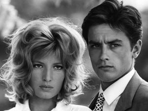 L'eclipse by Michelangelo Antonioni with Alain Delon and Monica Vitti, 1962 (b/w photo)