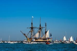 L'Hermione ship in the estuary of Charente, Charente-Maritime, Poitou-Charentes, France