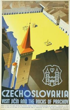 Czechoslovakia - Visit Jicin and the Rocks of Prachov Travel Poster by L. Horak