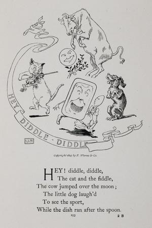 Scene With a Cow, Cat Playing a Fiddle Or Violin, a Dog, a Moon, a Dish and a Spoon