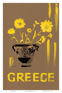 Greece - Yellow Daisy (Marguerite) Flowers In Grecian Urn by L. Montessanti
