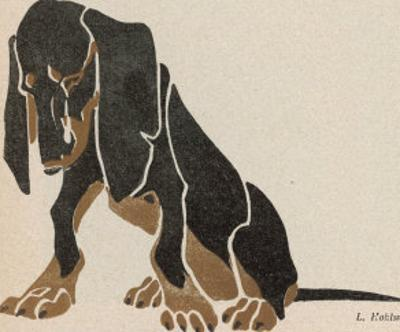Painting in Black and Brown Colours of a Sitting Dachshund Gazing