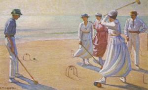 Croquet on a Sandy Beach by L. Tanqueray