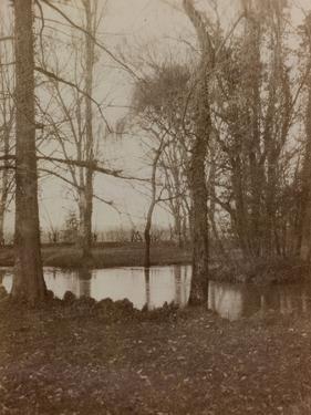 WWI: the Pond in the Park of Villa Brazza, Hospital of War N. 17, Soleschiano Manzano by L. Verdiani