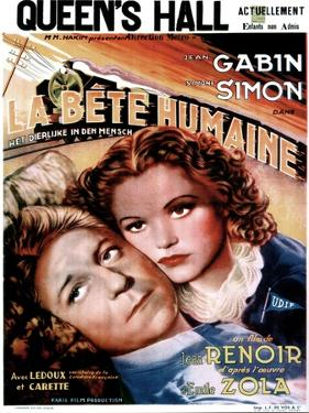 LA BETE HUMAINE, French poster, from left: Jean Gabin, Simone Simon, 1938.